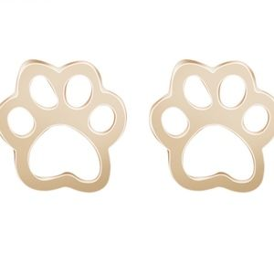 Jewelry - Dog Cat Paw Print Gold Stud Earrings